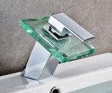 Wasserfall-Temperaturregler des Badezimmer-LED entfärben Glaswaschbecken-Hahn