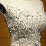Mão do cetim da bainha - feita perlando o vestido de noite Akys66028 do partido