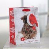La navidad lindo gato Patten bolsa de papel de regalo, regalo bolsa de papel, bolsa de mango