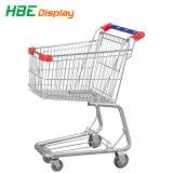 Het Boodschappenwagentje van de supermarkt met de Adverterende Raad van de Vertoning van het Karretje