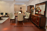 Твердая древесина 0068 покрыла шведский стол отделки лоска роскошного Veneer высокий