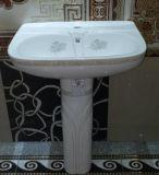Mercancías sanitarias del cuarto de baño dos pedazos del lavabo de zócalo decorativo