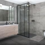 Salle de bains une pièce pleine encadrée de l'écran de douche en verre transparent trempé