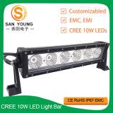 El CREE 10W del carro escoge la barra ligera 12V de conducción campo a través 24V de la fila LED