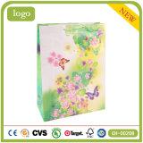 Мешок Coated подарка искусствоа способа зеленого цвета картины бабочки бумажный