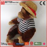 견면 벨벳 박제 동물 아이들 또는 아이 실행을%s 모자에 있는 연약한 장난감 원숭이