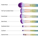 insieme di spazzole di trucco della sirena 7PCS, spazzole dell'estetica per il Blusher Concealer del fondamento