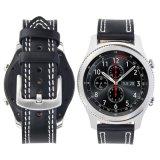 Verdadera calidad de cuero negro y costuras de color oscuro de la banda de reloj para S3
