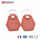 Kundenspezifische Schlüsselmarken-Leder-Zugriffssteuerung Keyfob des Entwurfs-T5577