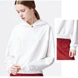 Hoodies de 100 de coton d'OEM femmes blanches personnalisées blanc de pull sans la poche