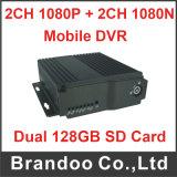 4CH Dual o cartão 4cameras DVR móvel de 128GB SD para a monitoração do veículo