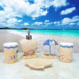 Os acessórios de banho de resina gravada com design de praia de areia pintados à mão