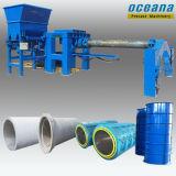 Tubulação de dreno concreta que faz a maquinaria