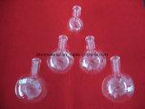 Fondo redondo frasco de cristal de cuarzo.