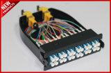 モジュラーLCケーブルカセットへの12のコアファイバー光学シングルモードMPO