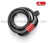 Кабель замка Bike, собственная личность кабеля Bike основная свертывая спиралью перестановные замки Bike кабеля комбинации с комплиментарным кронштейном