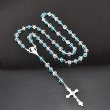 Collana di vetro religiosa della traversa del rosario dei rosari 6mm di ultimo disegno (IO-cr406)