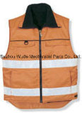 Uve014poliéster Oxford PVC/PU Non-Breathable/PU respiráveis cubra pano reflexivo Vest Worksuit