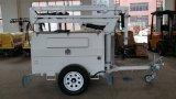 Polo desmontable hidráulico de la torre de iluminación automática de Farol piernas Servomotor de minería de la torre de luz LED de yacimientos petrolíferos de gas de la Cantera de 9m