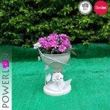 Antiker weißer einzelner Potenziometer-Blumen-Pflanzer-Standplatz
