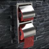 壁に取り付けられたステンレス鋼の倍のトイレットペーパーのホールダーの浴室のアクセサリの二重トイレットペーパーホールダー