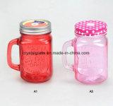 Vaso di vetro della maniglia del vaso del vaso di muratore con stampa di marchio dell'OEM