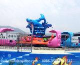 自制の平らな鮫の乗車を回す運動場の乗車水ゲームグループの乗車