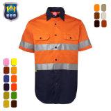 Het korte Weerspiegelende Overhemd van de Veiligheid van de Slijtage van het Werk van de Koker Eenvormige