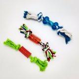 I giocattoli del nodo della corda dell'animale domestico con la sfera per il gioco interattivo del cane puliscono il giocattolo del cane di tiro della mano dei denti