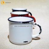 Estilo Drinkware de cerámica blanco 400ml del metal del esmalte de la vendimia