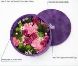 Rectángulo de empaquetado del terciopelo de la flor púrpura redonda de Rose