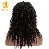 8A Luffy Virgen brasileña rizada del frente del cordón con el frente del cordón del pelo humano del pelo del bebé afro rizado rizado pelucas llenas del cordón de las mujeres negras