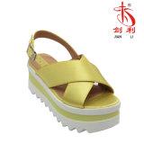 Ботинок PU 2018 повелительниц лета цветастый и сандалии женщин ткани (PSA 013)