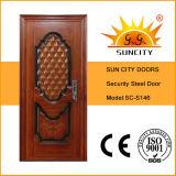 Diseño simple papel de nido de abeja Puerta de acero (SC-S006)