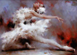 Handgemachte Ballett-Tänzer-Ölgemälde auf Segeltuch für Dekoration