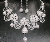 花嫁の結婚式のラインストーンの水晶のネックレスの一定の気高い花嫁の宝石類の一定の銀