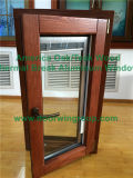 América Oak Wood Tilt Turn Window com Persianas incorporadas, Double Glaz Tilt & Turn Window com hardware importado