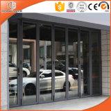 アルミニウムバルコニーのドアを、アメリカデザイン熱壊れ目のアルミニウム折れ戸滑らせ、テラスのドアを滑らせる十分に緩和されたガラスのドアに二重ガラスをはめる