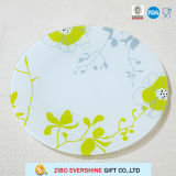 Placa de vidro do decalque redondo da flor, utensílios de mesa
