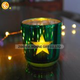 Sostenedor de vela coloreado aduana del vidrio de corte