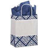 Серебристый шикарный мешок бумажной несущей подарка промотирования покупателей для покупкы и упаковывать