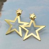 Mode Double Star Gold-Tone Moulage en alliage de bijoux personnalisés Stud Earrings