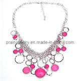La primavera, las cadenas de moda collar ajustable chapado en plata con cordón de resina de color púrpura de la mujer Lady Regalo de Cumpleaños