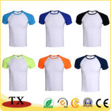 Gli sport mettono la maglietta in cortocircuito di cucitura unisex di colore del manicotto