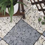 中国の工場卸売のテラスの歩道の芸術無作法なアイボリーカラー大理石のモザイク石様式の選択の床タイル