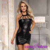 Poseer la fábrica en existencias más señora atractiva Leather Sexy Dress del negro de la talla