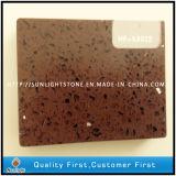 Cuarzo de piedra artificial blanco superficial sólido dirigido de las losas (con el vidrio)