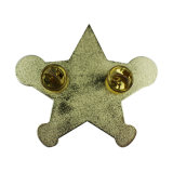 Venda por grosso de Fornecedor da China o logotipo personalizado Gold Star Badge Pins