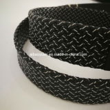Luxury Black Leather Braided Belt with Hole Chock Buckle