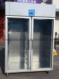 1400L de acero inoxidable nevera-congelador, alcanzar en el refrigerador con puerta de vidrio